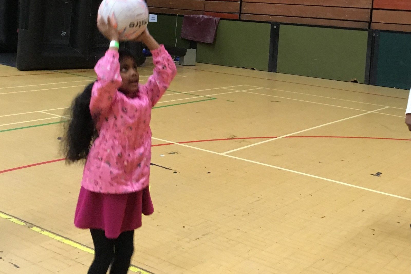 Girl in pink top holding netball above head.jpg