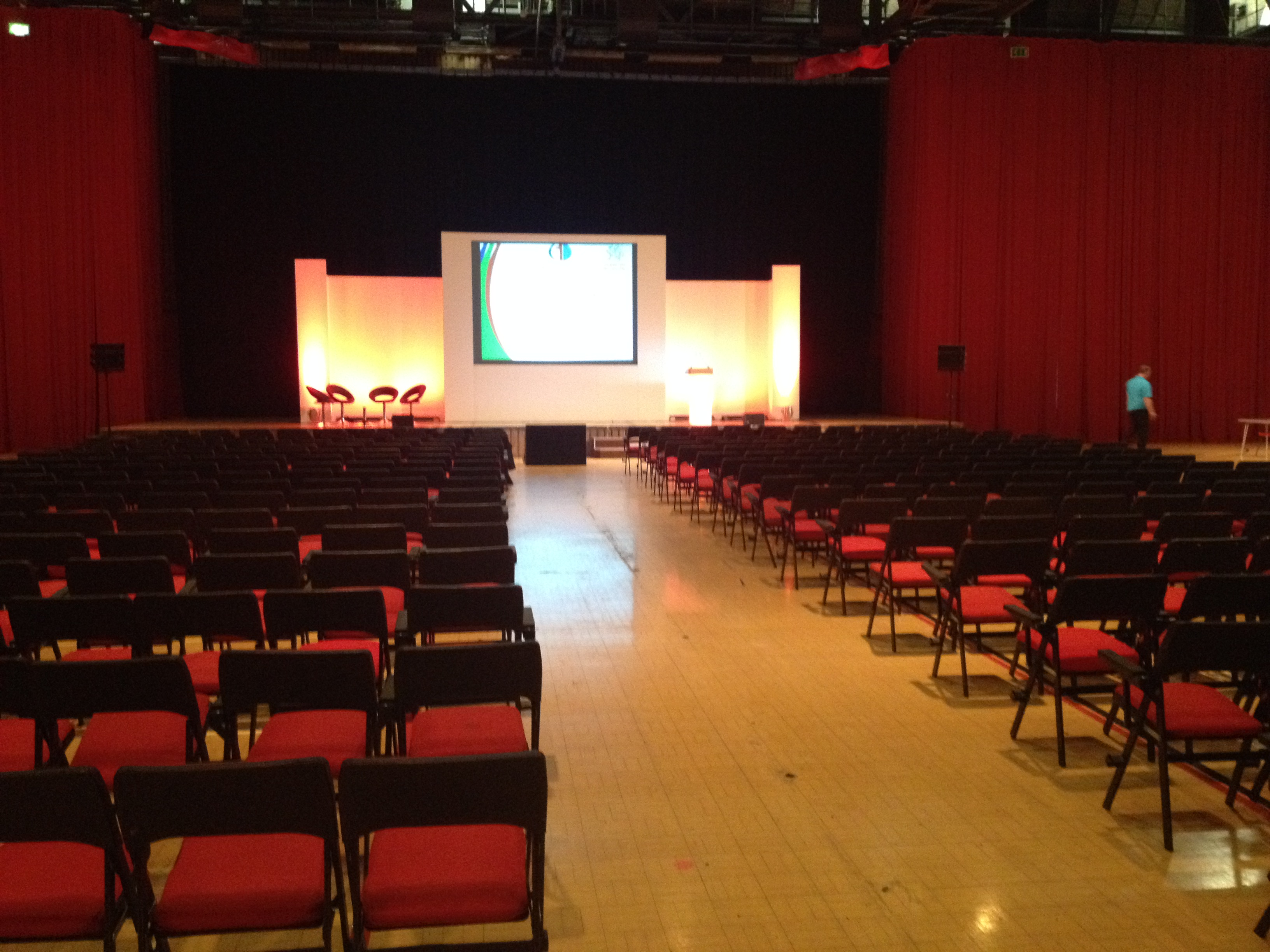 Newport centre sports hall set up theatre style for a conference