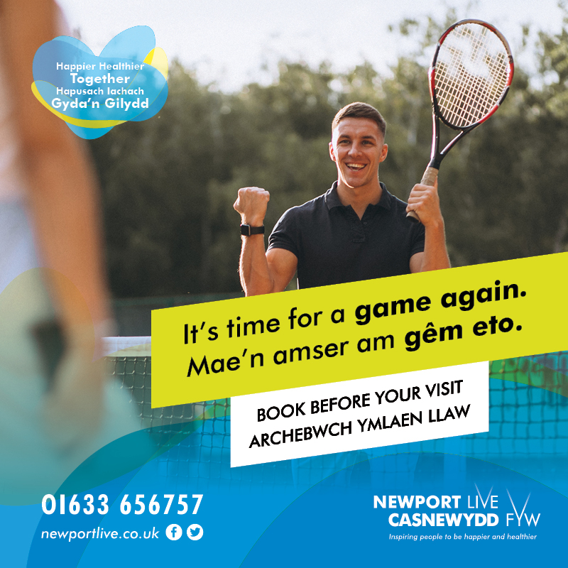 Poster of man playing tennis outdoors with banner over image saying 'its time for a game again'
