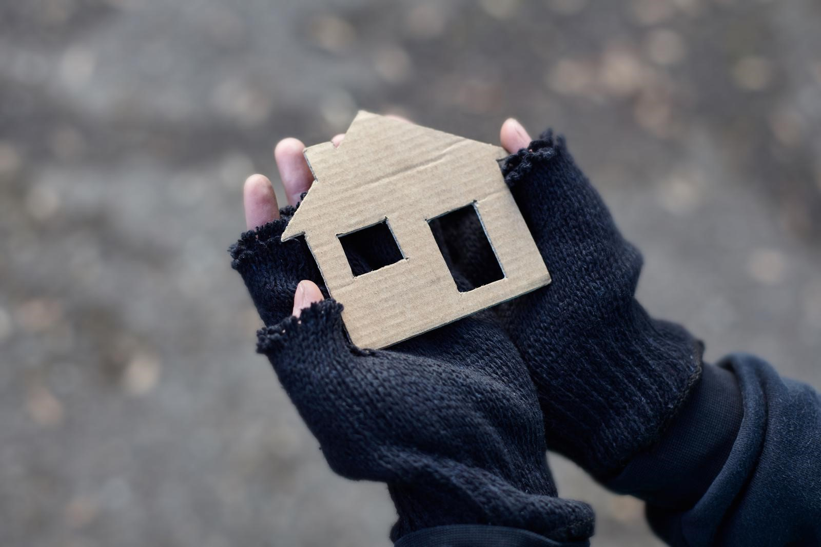 Gloved hands holding cardboard house