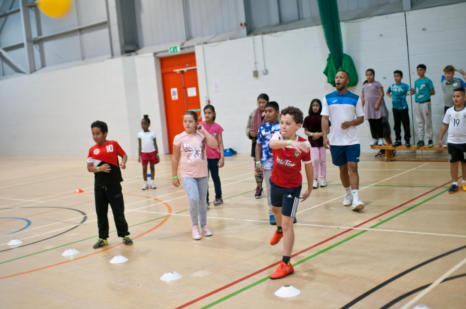 Group of children playing dodgeball